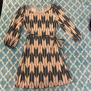 Pink & Grey long sleeve mini dress